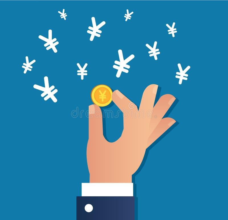 Remettez tenir le vecteur d'icône de pièce d'or et de symbole dollar de Yens, concept d'affaires illustration de vecteur