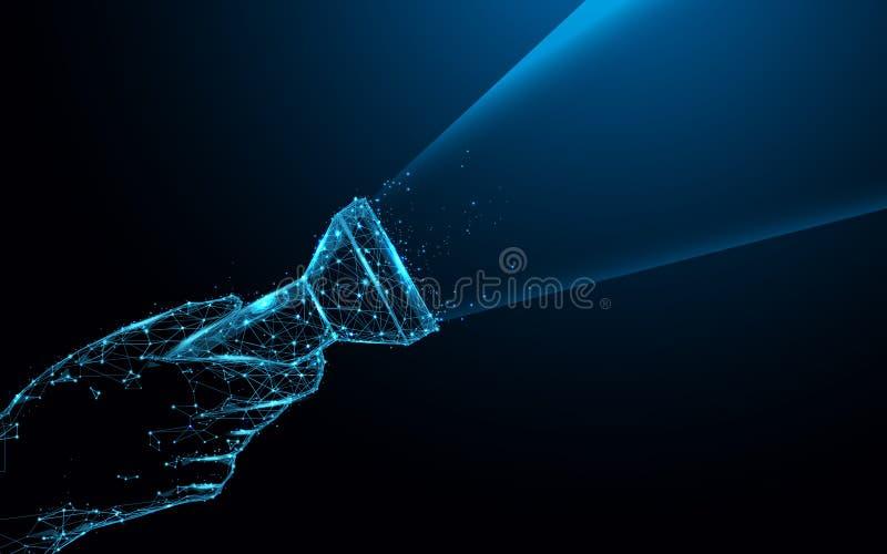 Remettez tenir les lignes d'une forme de lampe-torche et les triangles, réseau se reliant de point sur le fond bleu illustration libre de droits