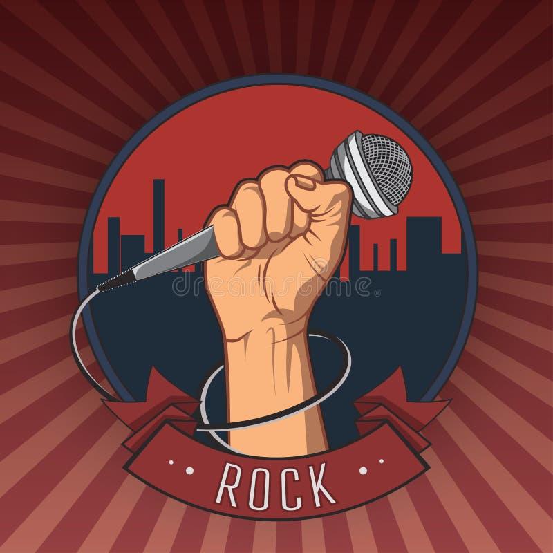 Remettez tenir un microphone dans une rétro affiche de roche de poing Illustration illustration de vecteur