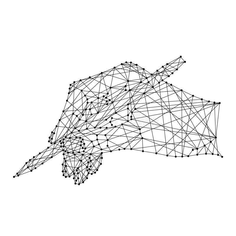 Remettez tenir un stylo sur le fond blanc de la ligne noire polygonale illustration stock