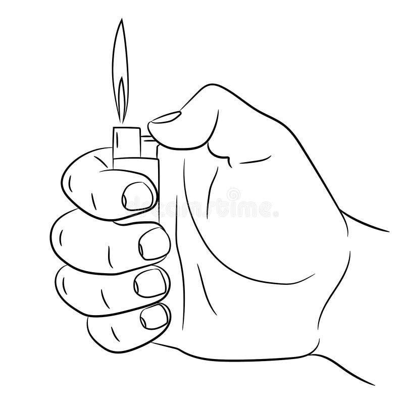 Remettez tenir une illustration brûlante de monochrome d'allumeur de cigarette illustration libre de droits
