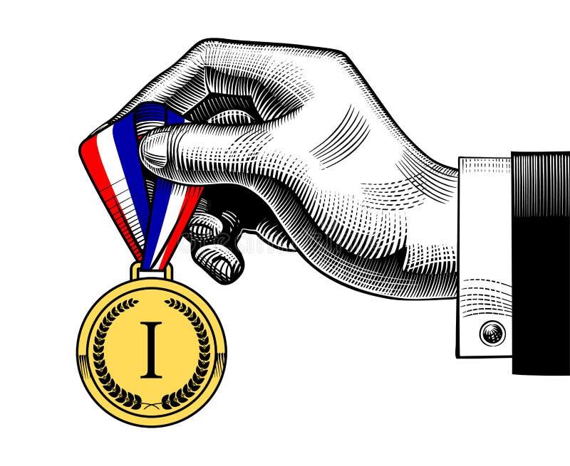 Remettez tenir une médaille de récompense avec le ruban rouge blanc bleu illustration de vecteur