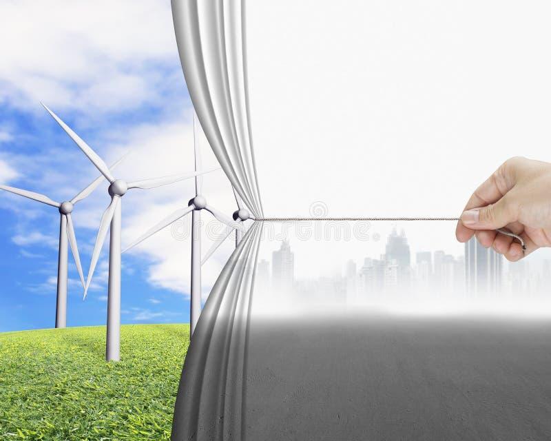 Remettez tirer le groupe de indication de rideau gris en paysage urbain de turb de vent illustration de vecteur