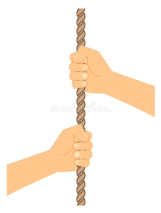 Remettez tirer une corde sur un clipart blanc de fond illustration de vecteur