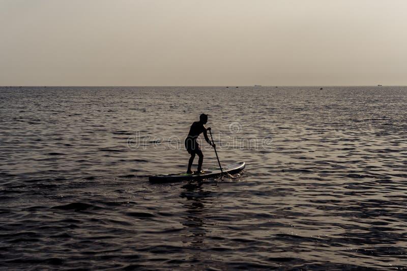 Remi la condizione, siluetta dell'uomo sulla spiaggia al tramonto Praticare il surfing del SUP fotografie stock libere da diritti