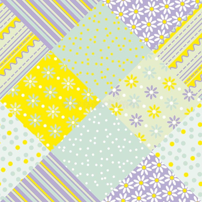 Remiendo amarillo y verde del color en colores pastel ilustración del vector