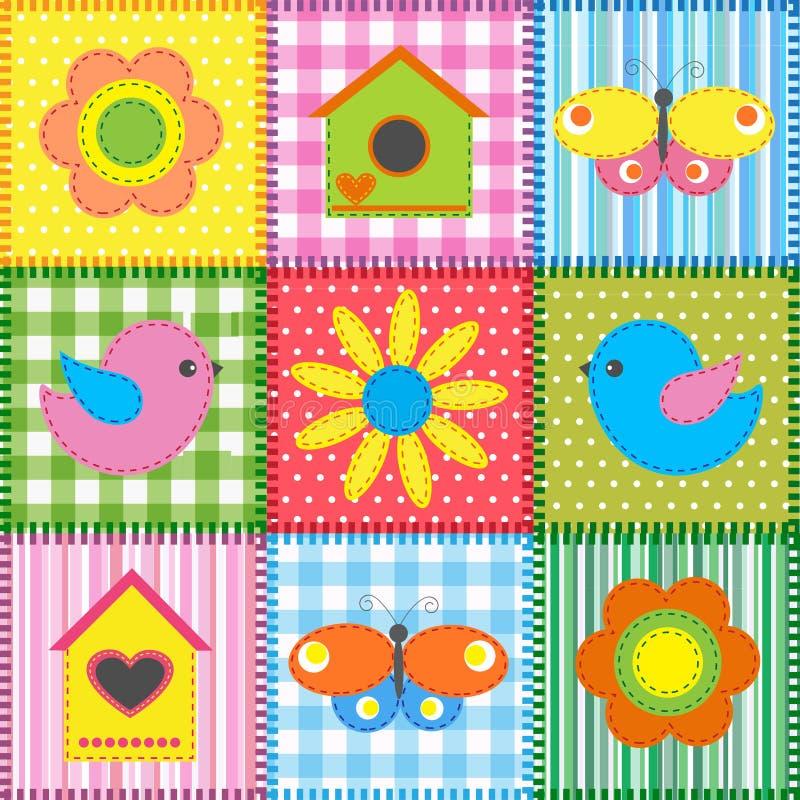 Remiendo con el birdhouse ilustración del vector