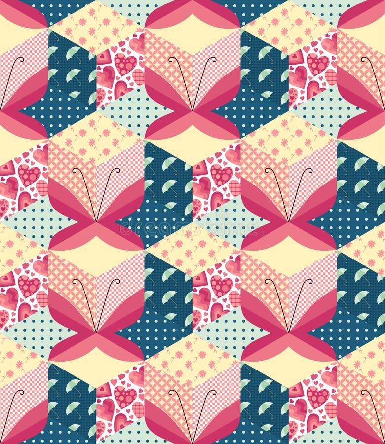 Remiendo con las mariposas stock de ilustración