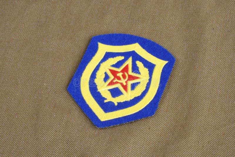 Remiendo de hombro soviético de la infantería mecanizada del ejército en el uniforme de color caqui fotografía de archivo