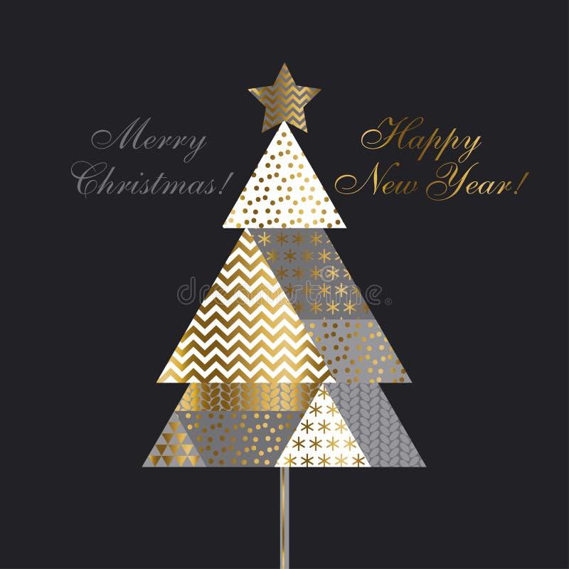 Remiendo del árbol de navidad del estilo del vintage libre illustration