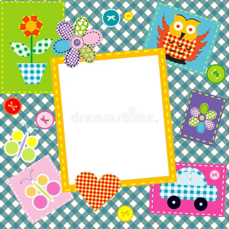 Remiendo para los niños con los elementos y el marco cosidos infantiles stock de ilustración