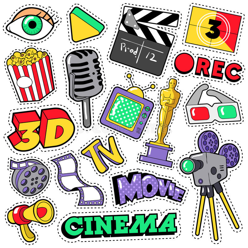 Remiendos de la televisión de la película del cine, insignias, etiquetas engomadas stock de ilustración