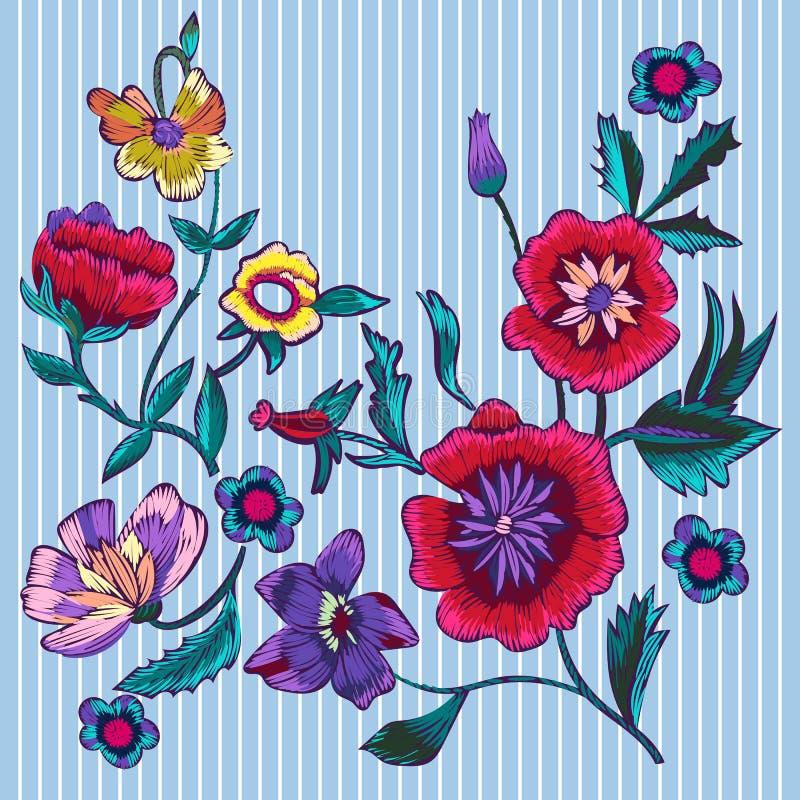 Remiendos del bordado con las amapolas y las flores del prado ilustración del vector