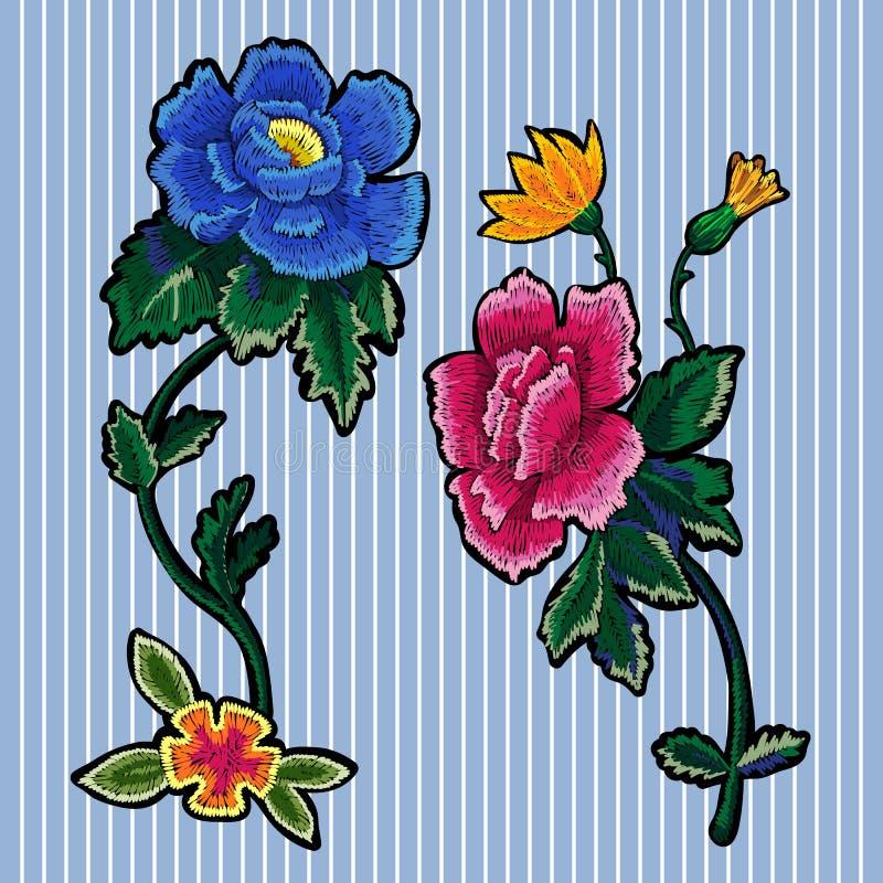 Remiendos florales de la tendencia del bordado con las peonías libre illustration