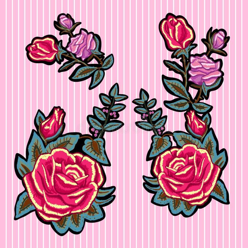 Remiendos florales de la tendencia del bordado con las rosas rojas y rosadas libre illustration