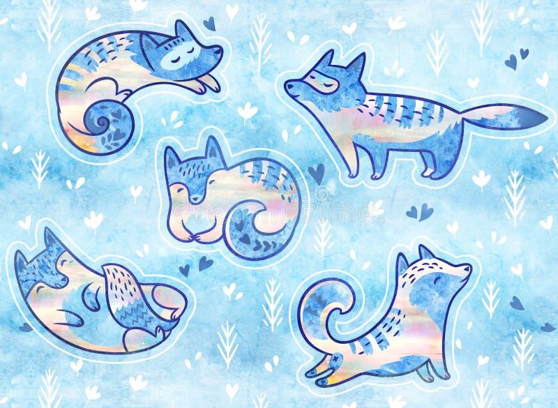 Remiendos lindos con los zorros polares Etiquetas engomadas o colección lindas de los pernos ilustración del vector