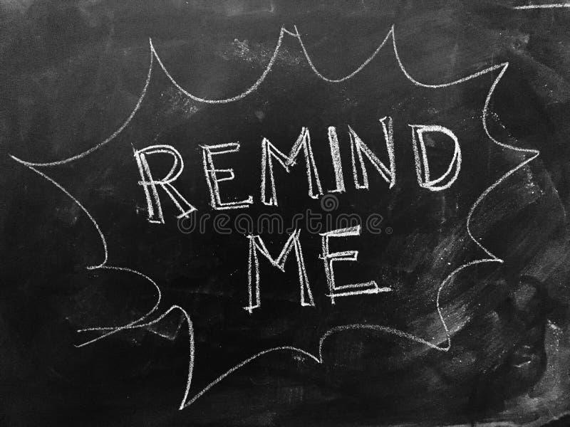 Remind Me Handwritten on Blackboard. As JPG File royalty free stock photography