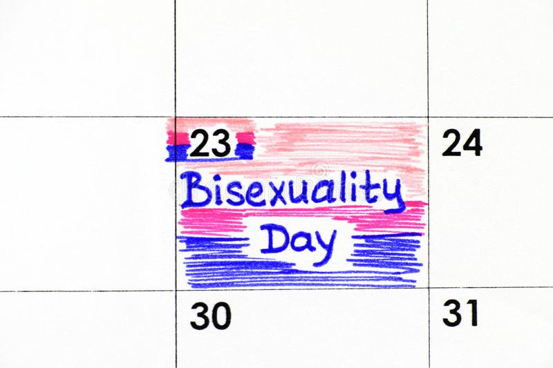 Reminder Bisexuality Day in calendar. Close-up stock image