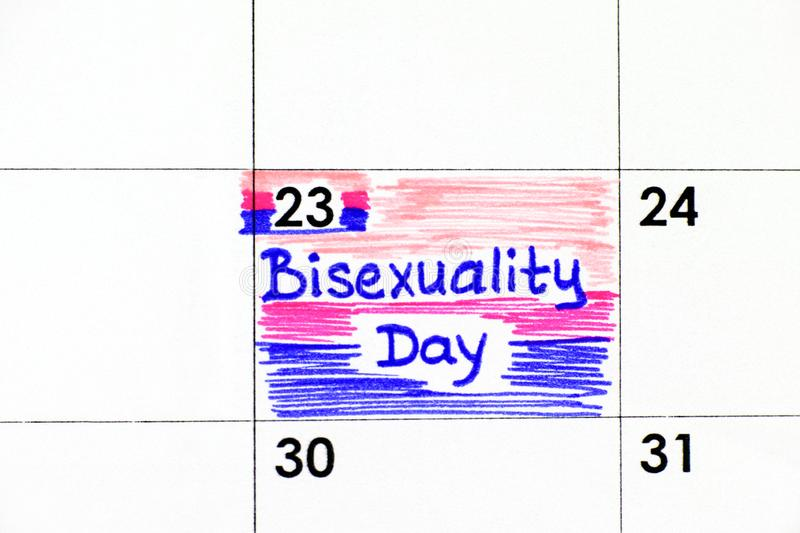 Reminder Bisexuality Day in calendar. Close-up stock photo