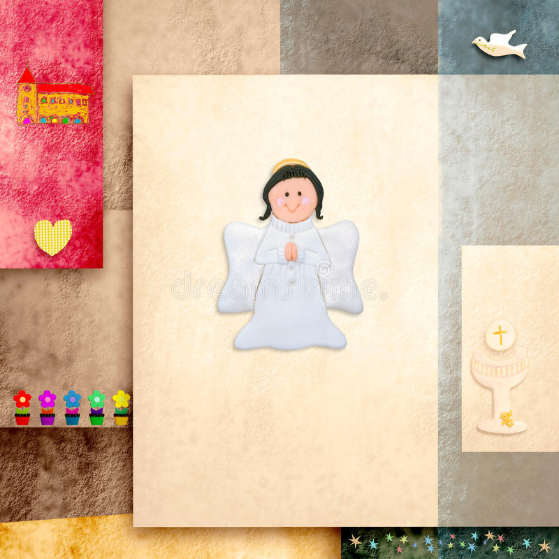 Cute Angel First Holy Communion Invitation Card Stock Photography