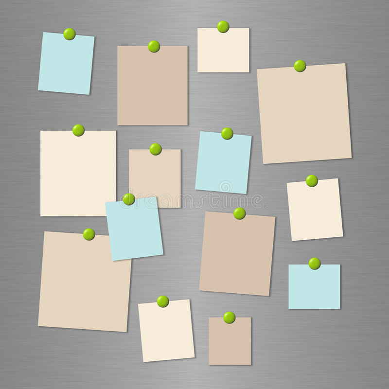 Download Reminder Cards On A Metal Wall Stock Illustration - Image: 7593788