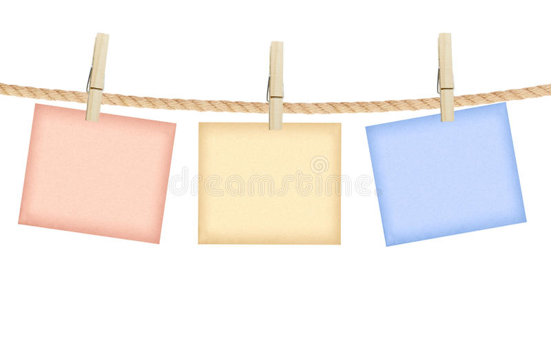 Reminder with clothes peg isolated on white stock images