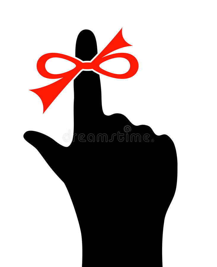 Reminder finger icon. Reminder finger on white background royalty free illustration