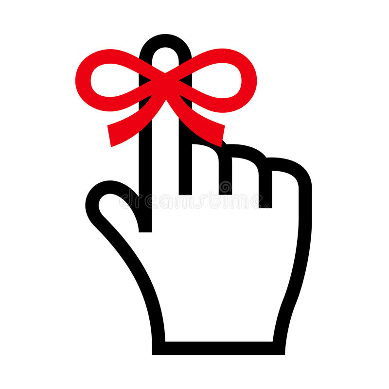 Reminder icon. Hand with finger on which is tied ribbon bow royalty free illustration