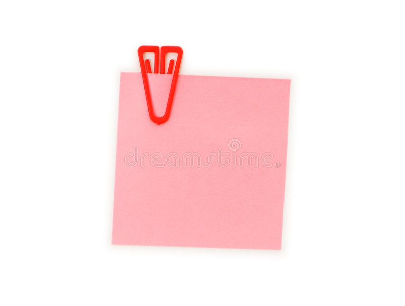 Reminder note with paperclip. Isolated on the white stock image