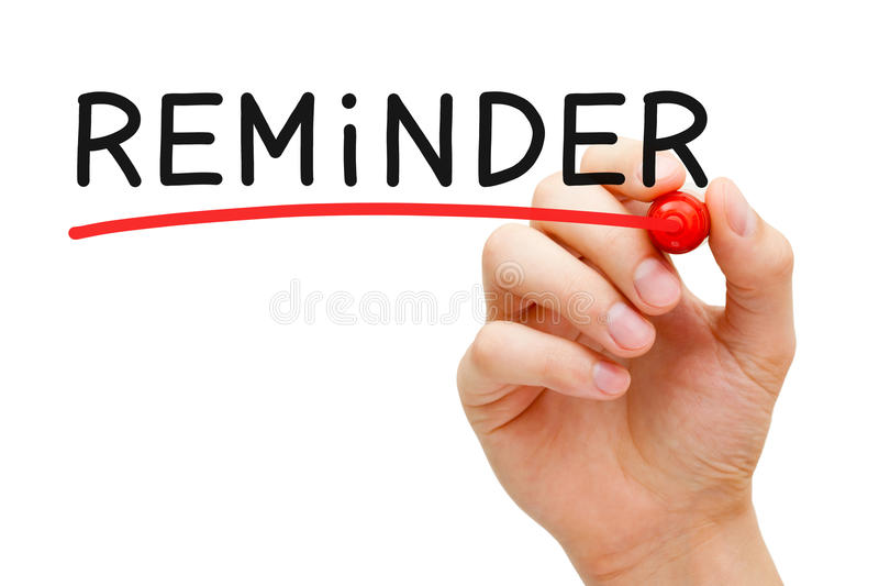 Reminder Red Marker. Hand underlining Reminder with red marker on transparent wipe board stock image