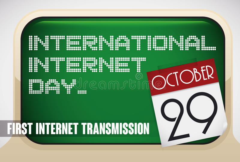 Reminder Sign with Retro Computers for International Internet Day, Vector Illustration vector illustration