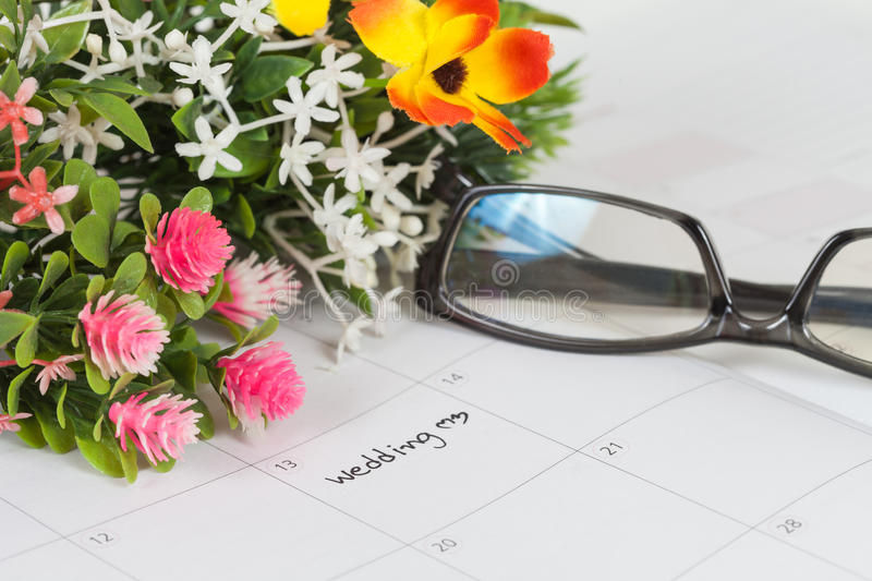 Reminder Wedding day. In calendar stock images