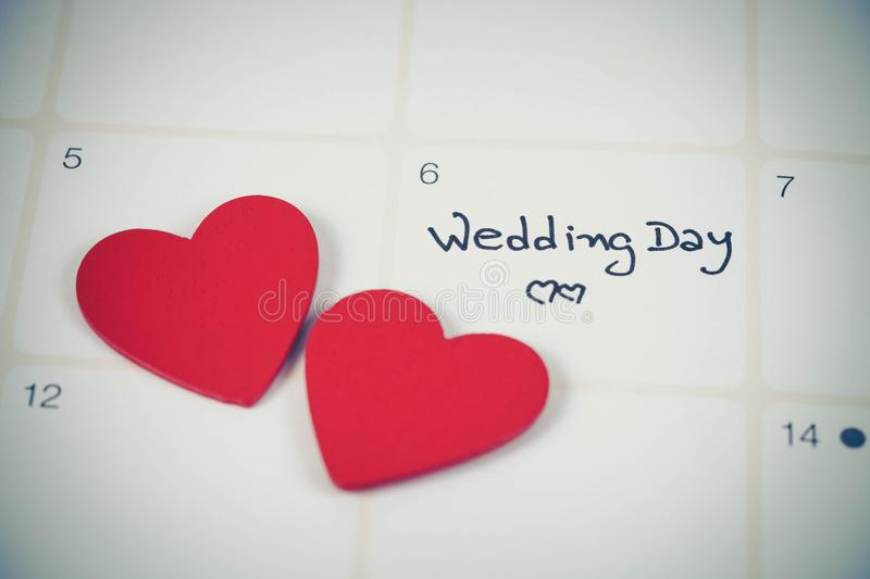 Reminder Wedding day in calendar planning. With color royalty free stock images