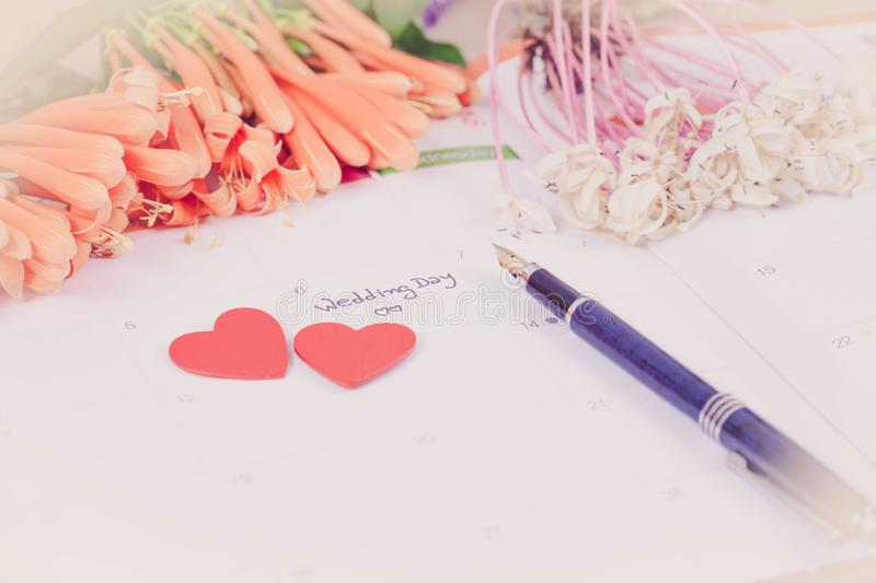 Reminder Wedding day in calendar planning. And fountain royalty free stock photography