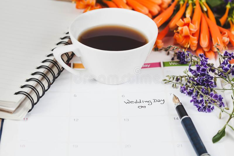 Reminder Wedding day in calendar planning. And fountain royalty free stock photo