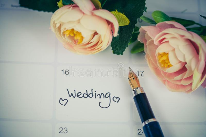 Reminder Wedding day in calendar planning royalty free stock images