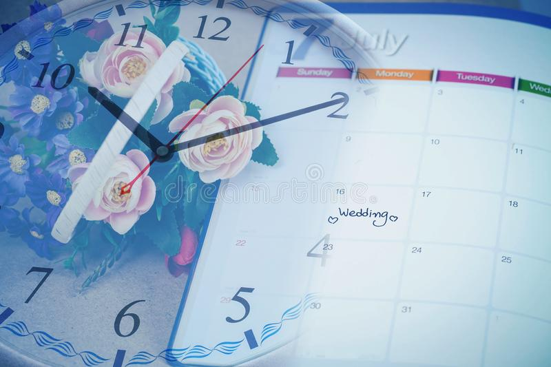 Reminder Wedding day in calendar planning time with color. Tone royalty free stock photo