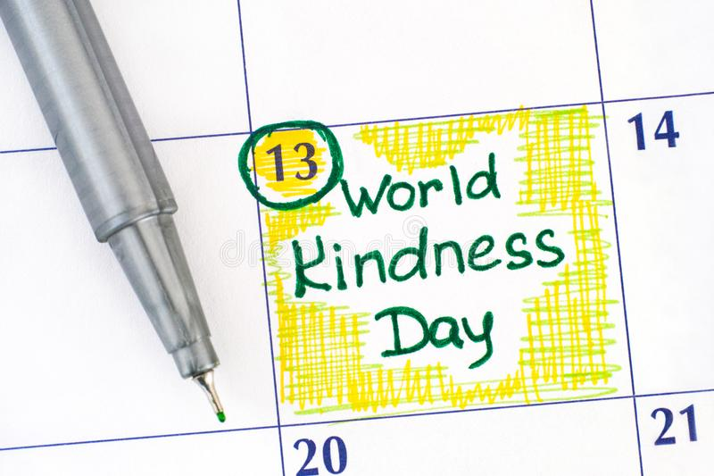 Reminder World Kindness Day in calendar with green pen. November 13 royalty free stock photos