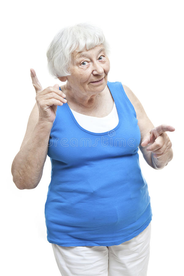 Reminding senior woman portrait royalty free stock photo