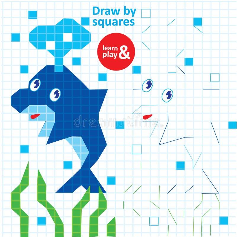 Remisów kwadratów delfinu dzieciaka Gemowy Printable Worksheet ilustracja wektor