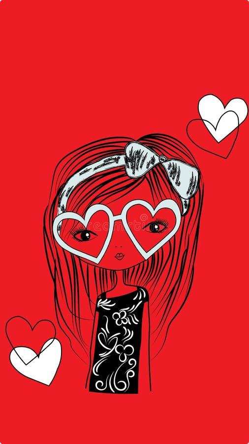 Remis dziewczyna z kierowymi kształtów okularami przeciwsłonecznymi ilustracji