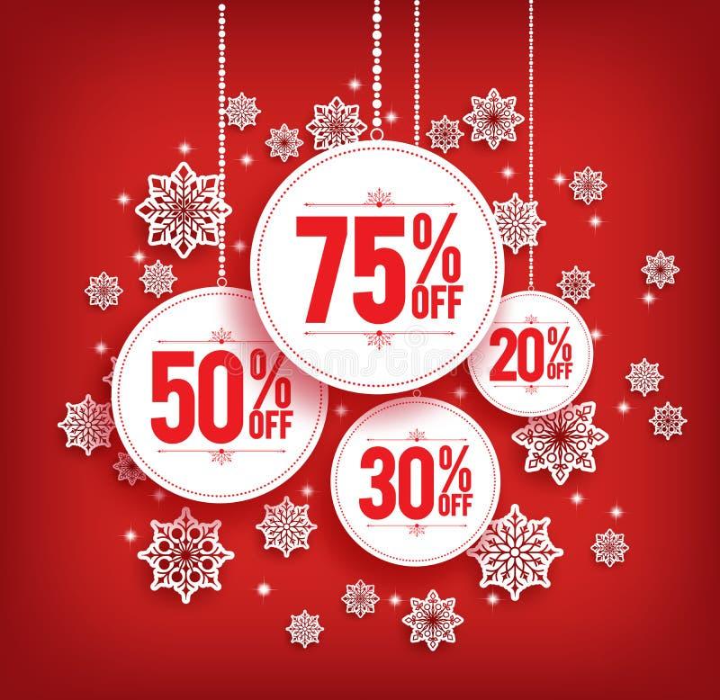 Remise de vente de Noël accrochant avec des flocons de neige illustration de vecteur
