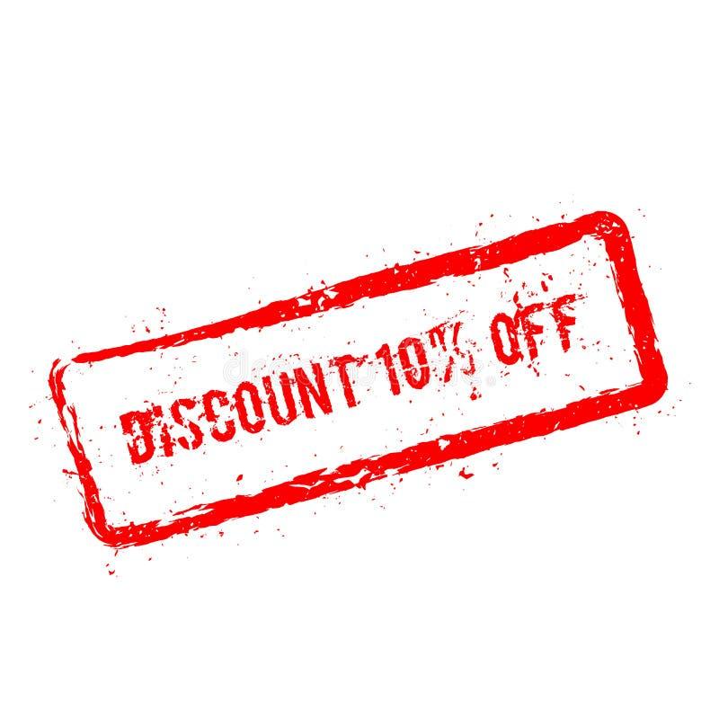 Remise 10% outre du tampon en caoutchouc rouge d'isolement dessus illustration stock