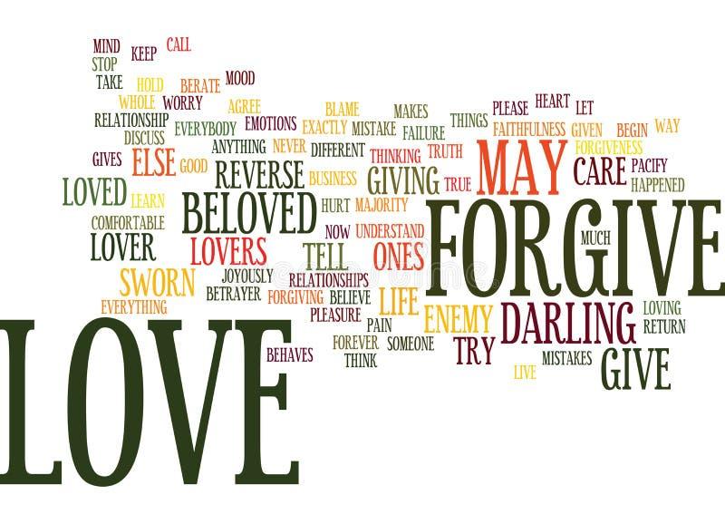 A remissão do amor é conceito verdadeiro da nuvem da palavra do fundo do texto do amor ilustração stock