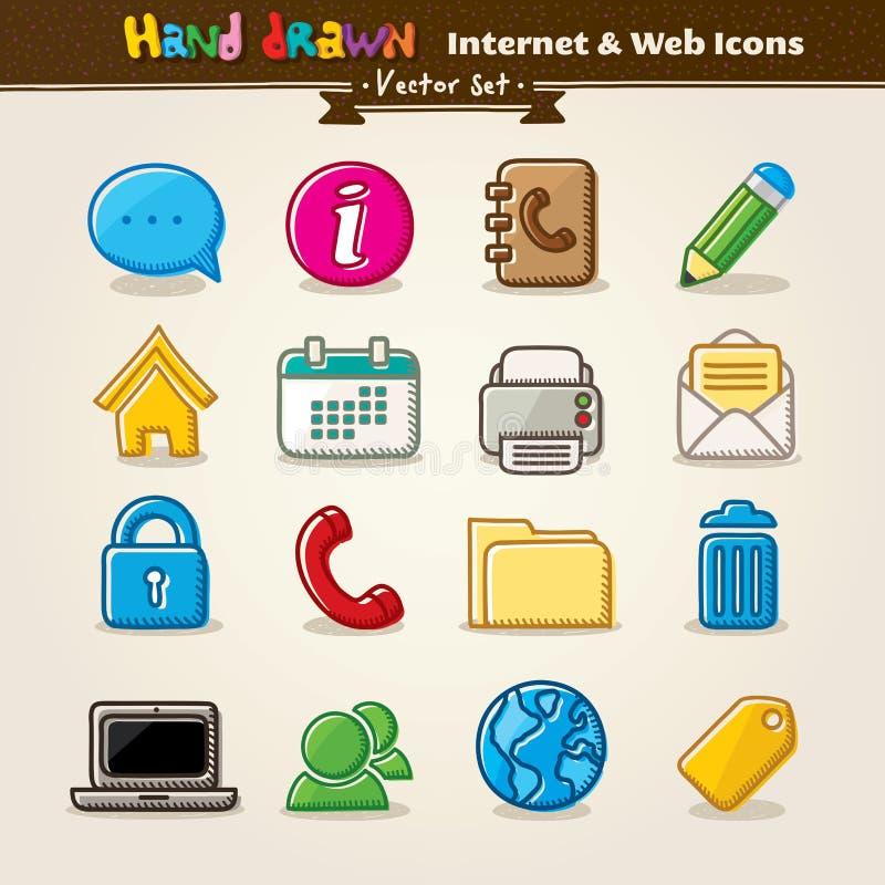 remisu ręki ikony internetów setu wektoru sieć royalty ilustracja