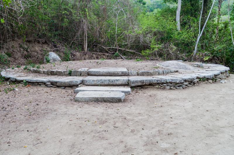Remnants of a house of indigenous Kogi people. In Tayrona National Park, Colombia royalty free stock photography