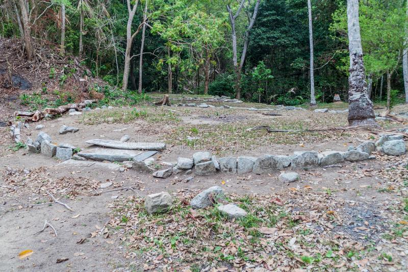 Remnants of a house of indigenous Kogi people. In Tayrona National Park, Colombia royalty free stock image