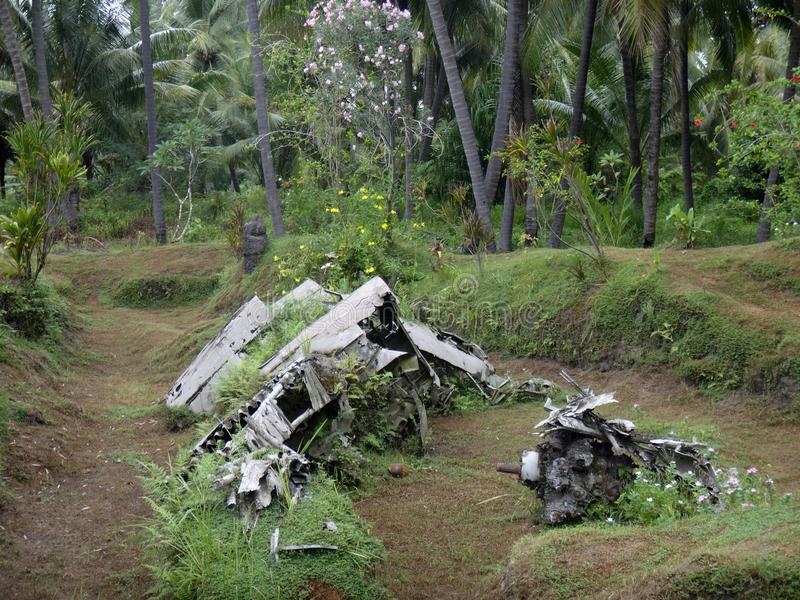 Remnants of a Japanese WWII plane in Matupit, Rabaul, Papua New. Guinea royalty free stock photos