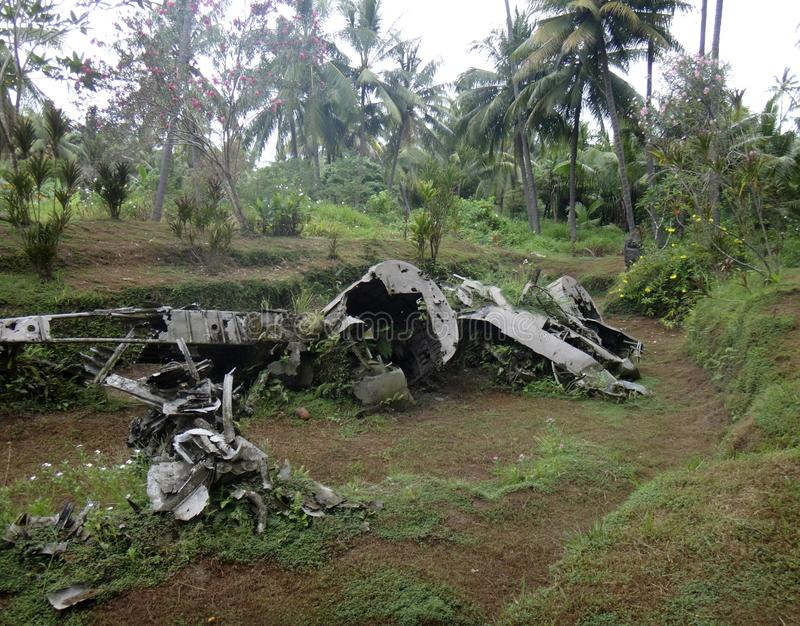 Remnants of a Japanese WWII plane in Matupit, Rabaul, Papua New. Guinea royalty free stock image