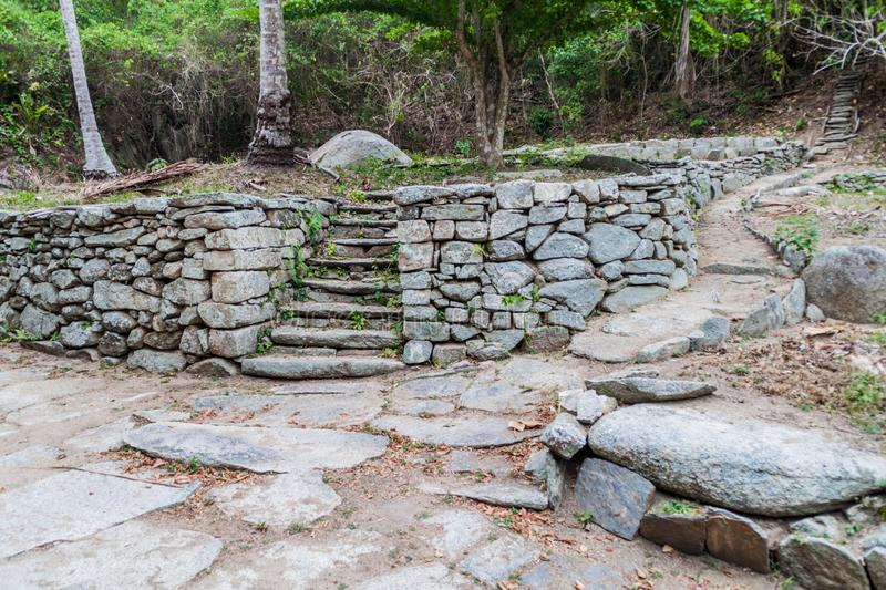 Remnants of a village of indigenous Kogi people. Remnants of a house of indigenous Kogi people in Tayrona National Park, Colombia stock photography